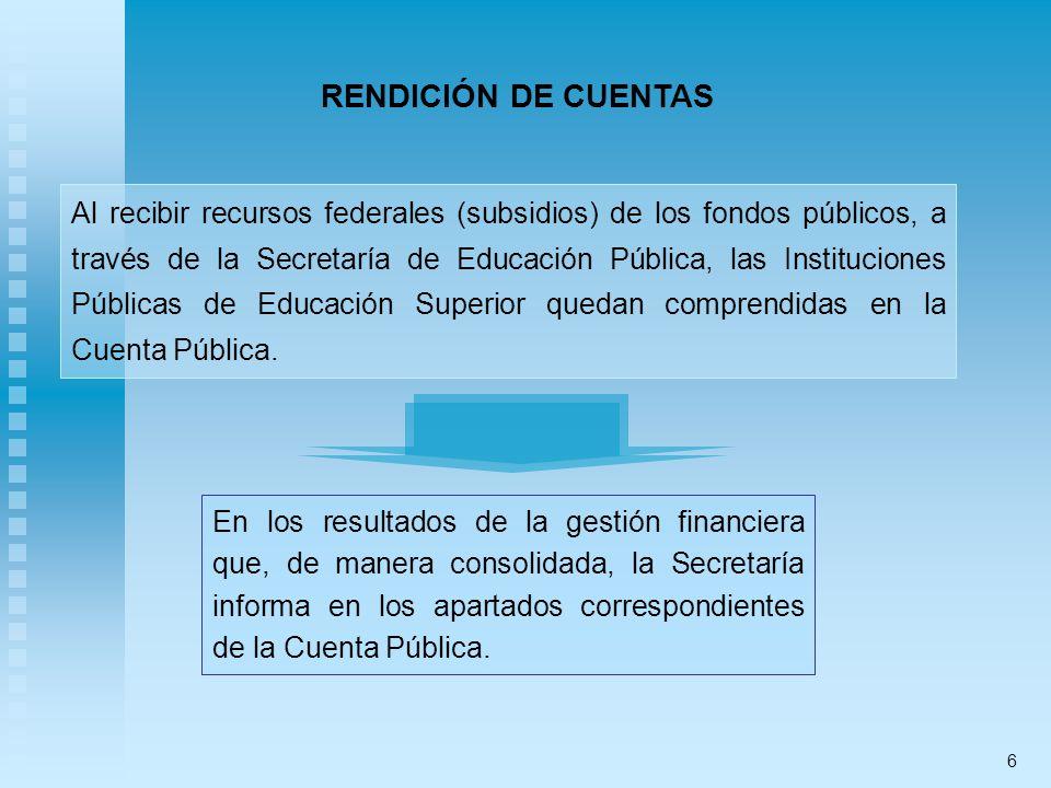Al recibir recursos federales (subsidios) de los fondos públicos, a través de la Secretaría de Educación Pública, las Instituciones Públicas de Educación Superior quedan comprendidas en la Cuenta Pública.