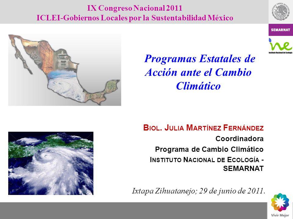 B IOL. J ULIA M ARTÍNEZ F ERNÁNDEZ Coordinadora Programa de Cambio Climático I NSTITUTO N ACIONAL DE E COLOGÍA - SEMARNAT Ixtapa Zihuatanejo; 29 de ju