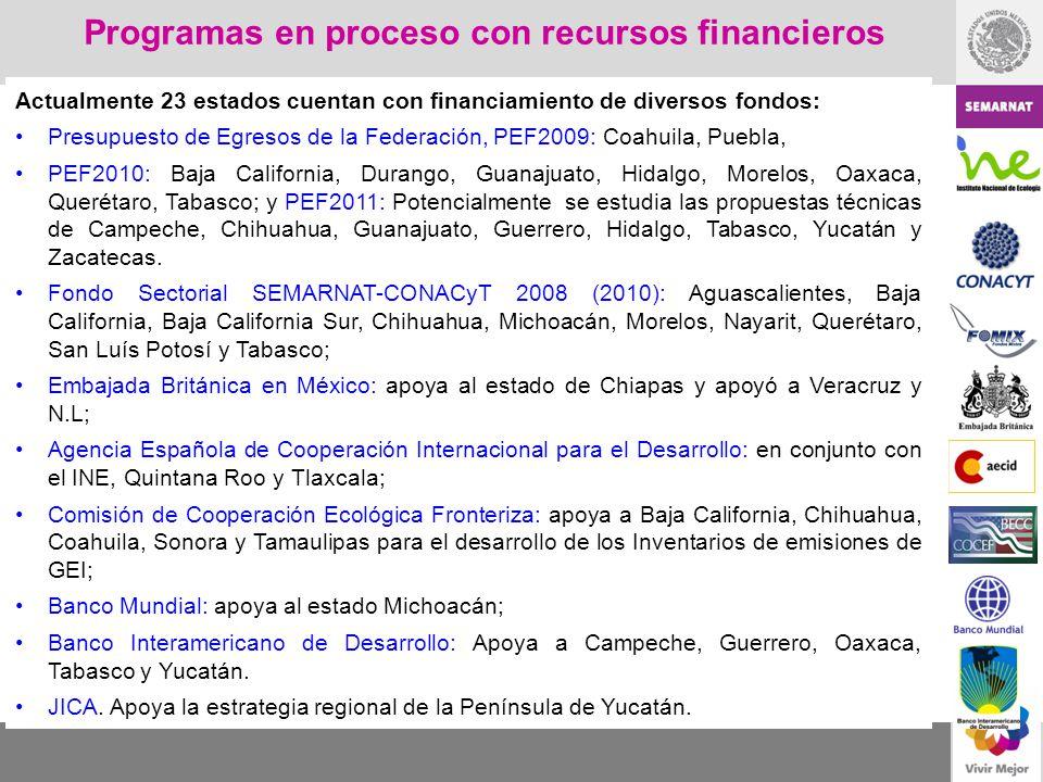 Actualmente 23 estados cuentan con financiamiento de diversos fondos: Presupuesto de Egresos de la Federación, PEF2009: Coahuila, Puebla, PEF2010: Baj