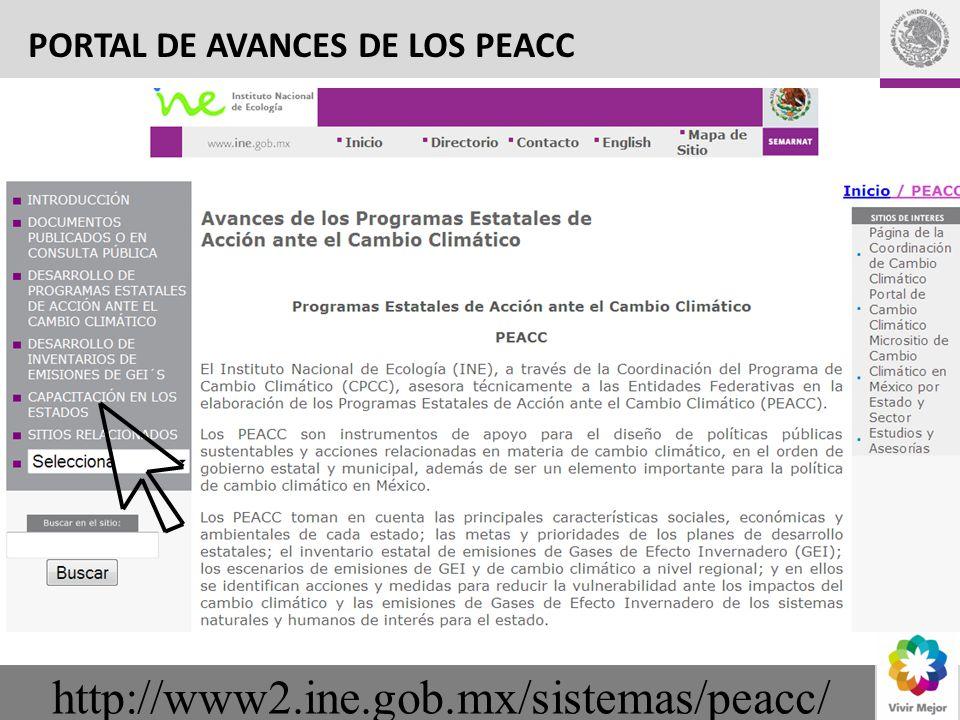 http://www2.ine.gob.mx/sistemas/peacc/ PORTAL DE AVANCES DE LOS PEACC