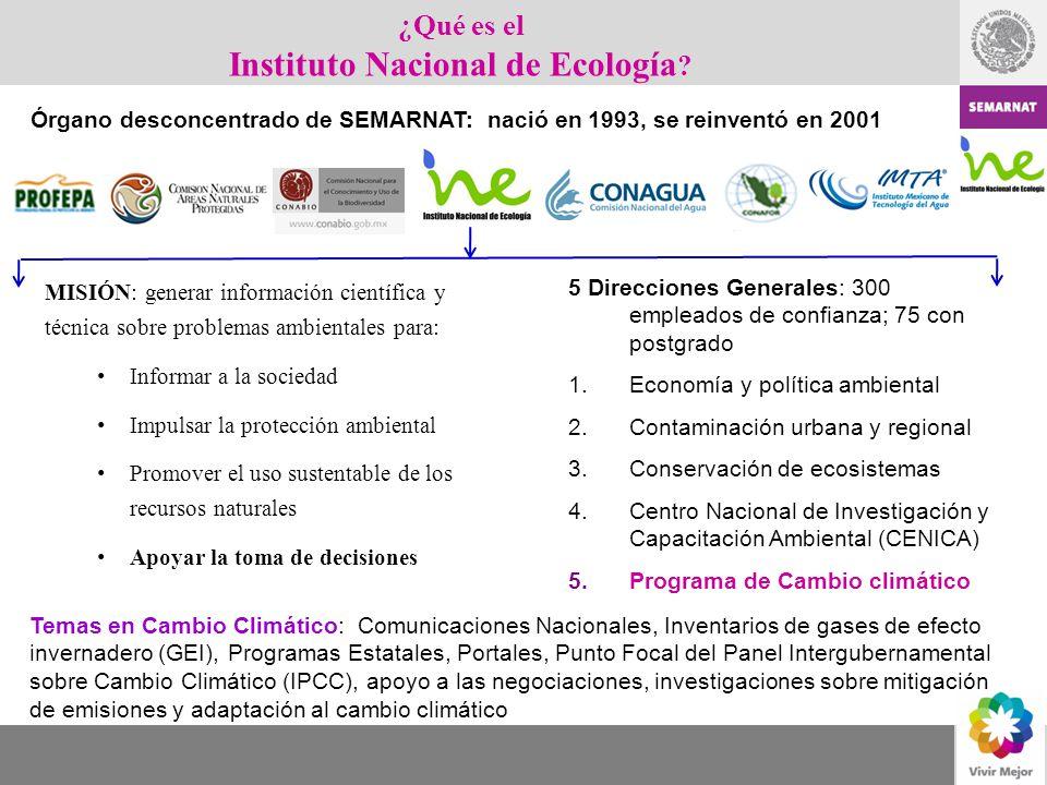 MISIÓN: generar información científica y técnica sobre problemas ambientales para: Informar a la sociedad Impulsar la protección ambiental Promover el