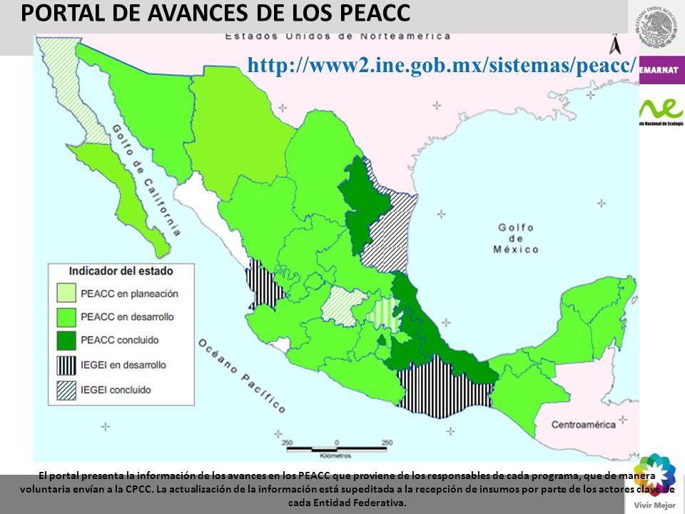 PORTAL DE AVANCES DE LOS PEACC El portal presenta la información de los avances en los PEACC que proviene de los responsables de cada programa, que de