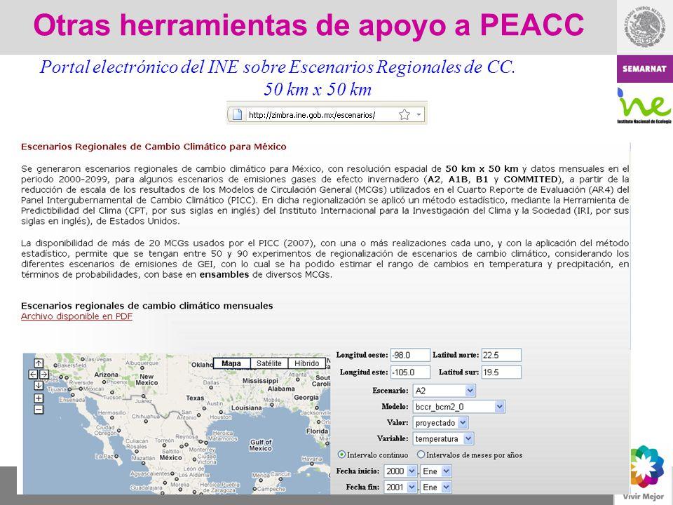 Otras herramientas de apoyo a PEACC Portal electrónico del INE sobre Escenarios Regionales de CC. 50 km x 50 km