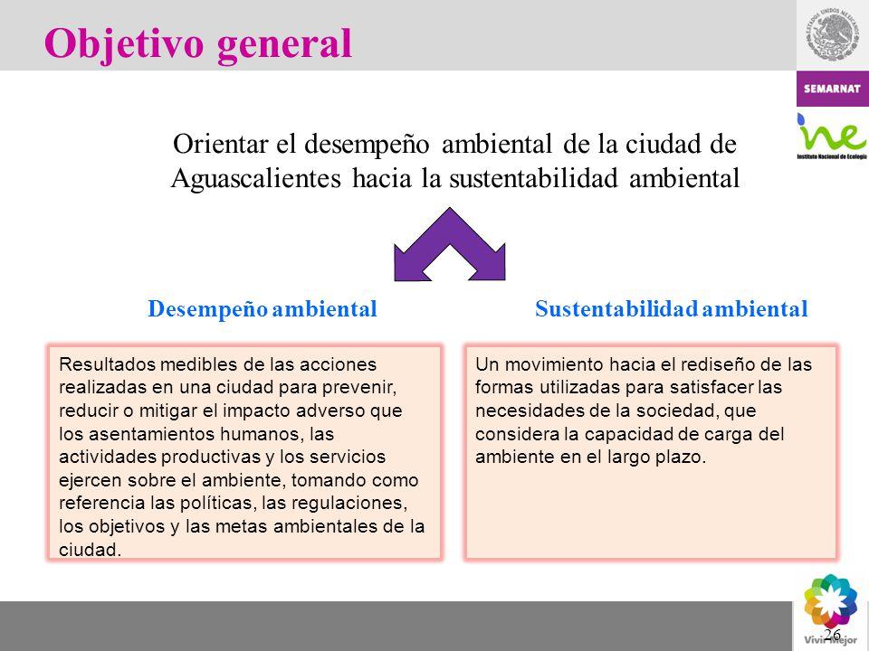 26 Objetivo general Orientar el desempeño ambiental de la ciudad de Aguascalientes hacia la sustentabilidad ambiental Resultados medibles de las accio