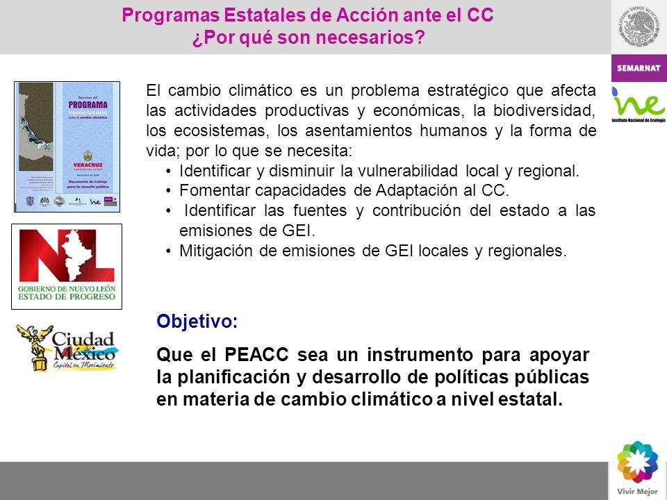 Programas Estatales de Acción ante el Cambio Climático PROGRAMAS ESTATALES DE ACCIÓN ANTE EL CAMBIO CLIMÁTICO Objetivo: Que el PEACC sea un instrumento para apoyar la planificación y desarrollo de políticas públicas en materia de cambio climático a nivel estatal.
