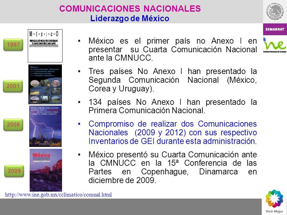 México es el primer país no Anexo I en presentar su Cuarta Comunicación Nacional ante la CMNUCC. Tres países No Anexo I han presentado la Segunda Comu