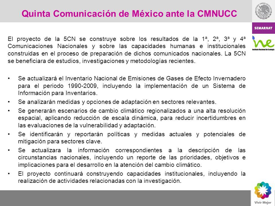 El proyecto de la 5CN se construye sobre los resultados de la 1ª, 2ª, 3ª y 4ª Comunicaciones Nacionales y sobre las capacidades humanas e instituciona