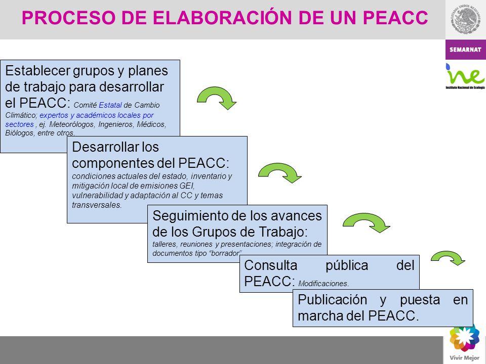 PROCESO DE ELABORACIÓN DE UN PEACC Establecer grupos y planes de trabajo para desarrollar el PEACC: Comité Estatal de Cambio Climático; expertos y aca