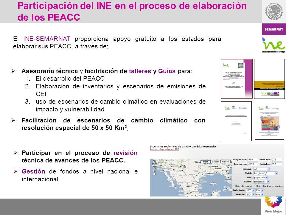 Participación del INE en el proceso de elaboración de los PEACC El INE-SEMARNAT proporciona apoyo gratuito a los estados para elaborar sus PEACC, a tr