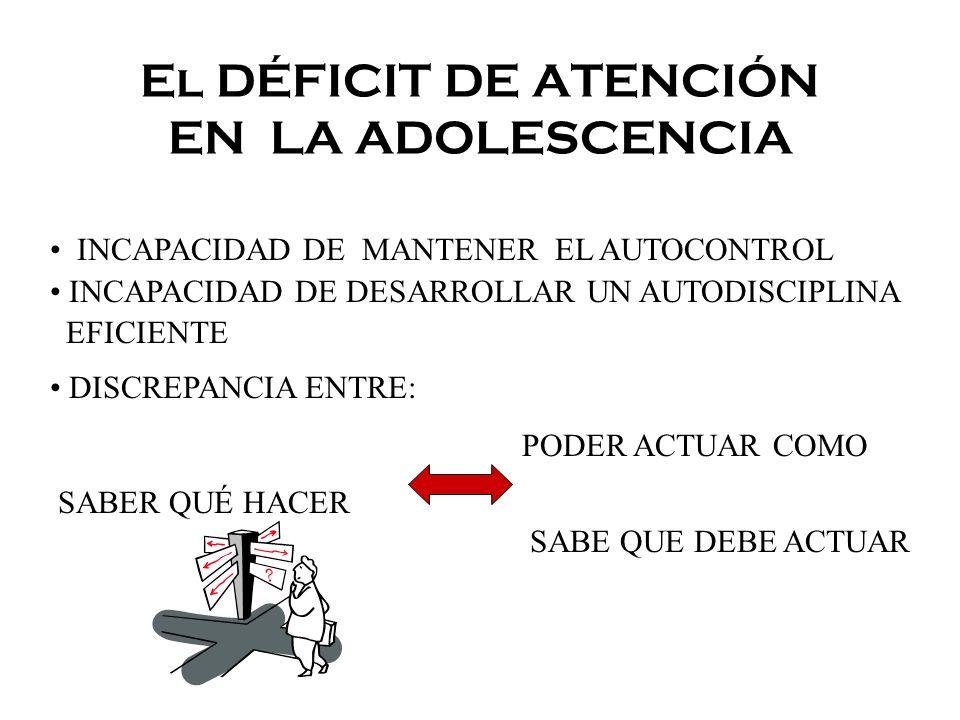 El DÉFICIT DE ATENCIÓN EN LA ADOLESCENCIA INCAPACIDAD DE MANTENER EL AUTOCONTROL INCAPACIDAD DE DESARROLLAR UN AUTODISCIPLINA EFICIENTE DISCREPANCIA E