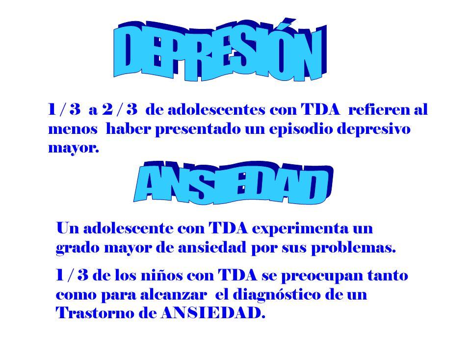 1 / 3 a 2 / 3 de adolescentes con TDA refieren al menos haber presentado un episodio depresivo mayor. Un adolescente con TDA experimenta un grado mayo