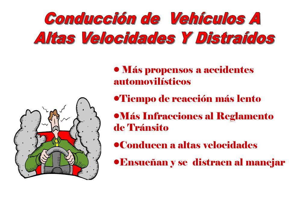 Más propensos a accidentes automovilísticos Tiempo de reacción más lento Más Infracciones al Reglamento de Tránsito Conducen a altas velocidades Ensue