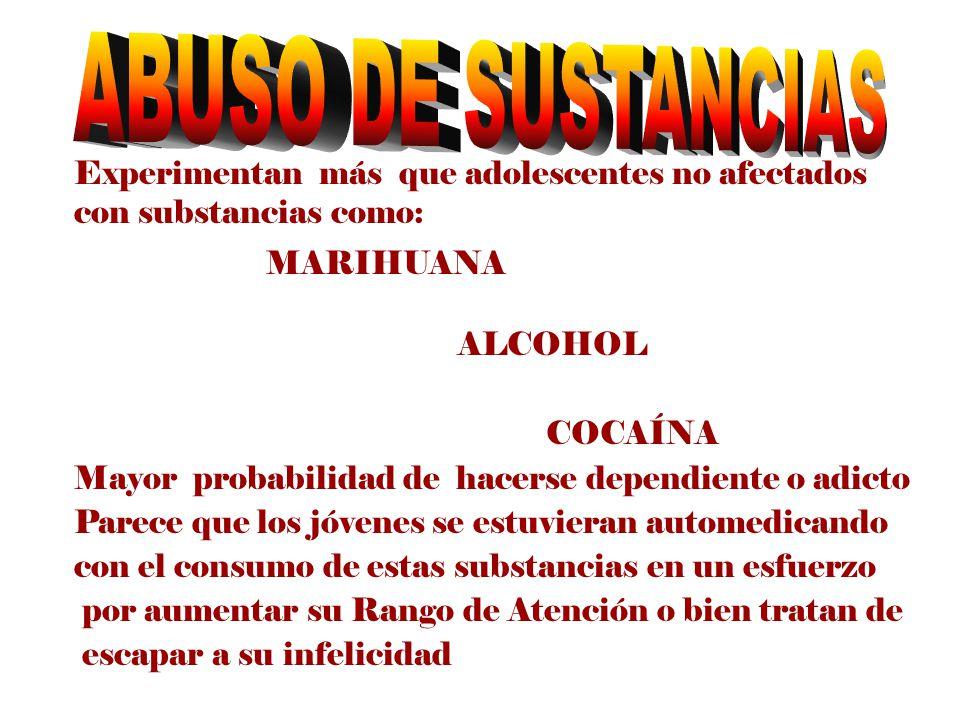 Experimentan más que adolescentes no afectados con substancias como: MARIHUANA ALCOHOL COCAÍNA Mayor probabilidad de hacerse dependiente o adicto Pare
