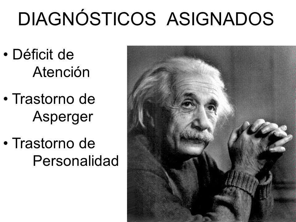 DIAGNÓSTICOS ASIGNADOS Déficit de Atención Trastorno de Asperger Trastorno de Personalidad