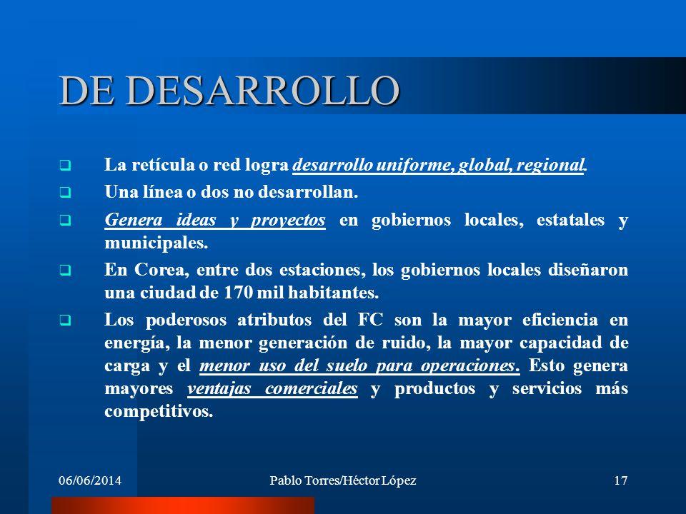 06/06/2014Pablo Torres/Héctor López17 DE DESARROLLO La retícula o red logra desarrollo uniforme, global, regional. Una línea o dos no desarrollan. Gen