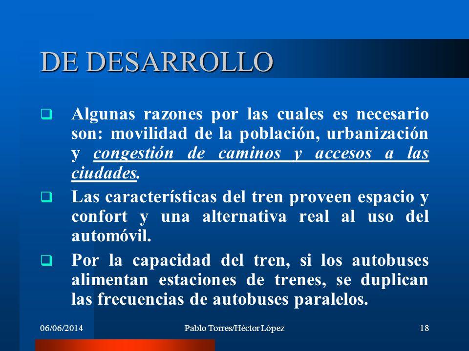 06/06/2014Pablo Torres/Héctor López18 DE DESARROLLO Algunas razones por las cuales es necesario son: movilidad de la población, urbanización y congest