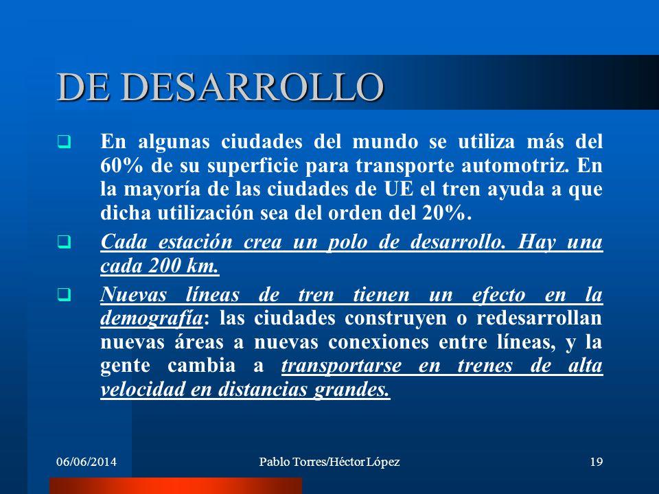 06/06/2014Pablo Torres/Héctor López19 DE DESARROLLO En algunas ciudades del mundo se utiliza más del 60% de su superficie para transporte automotriz.