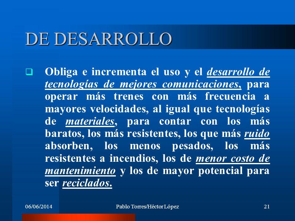 06/06/2014Pablo Torres/Héctor López21 DE DESARROLLO Obliga e incrementa el uso y el desarrollo de tecnologías de mejores comunicaciones, para operar m