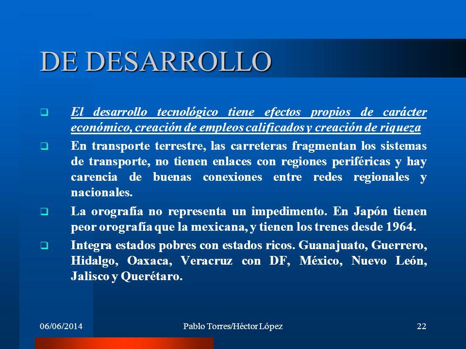 06/06/2014Pablo Torres/Héctor López22 DE DESARROLLO El desarrollo tecnológico tiene efectos propios de carácter económico, creación de empleos calific
