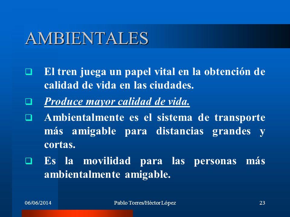06/06/2014Pablo Torres/Héctor López23 AMBIENTALES El tren juega un papel vital en la obtención de calidad de vida en las ciudades. Produce mayor calid