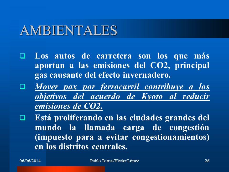 06/06/2014Pablo Torres/Héctor López26 AMBIENTALES Los autos de carretera son los que más aportan a las emisiones del CO2, principal gas causante del e