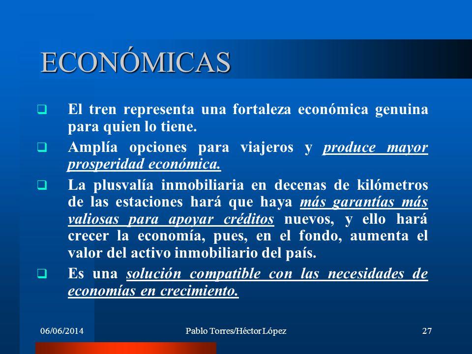 06/06/2014Pablo Torres/Héctor López27 ECONÓMICAS El tren representa una fortaleza económica genuina para quien lo tiene. Amplía opciones para viajeros