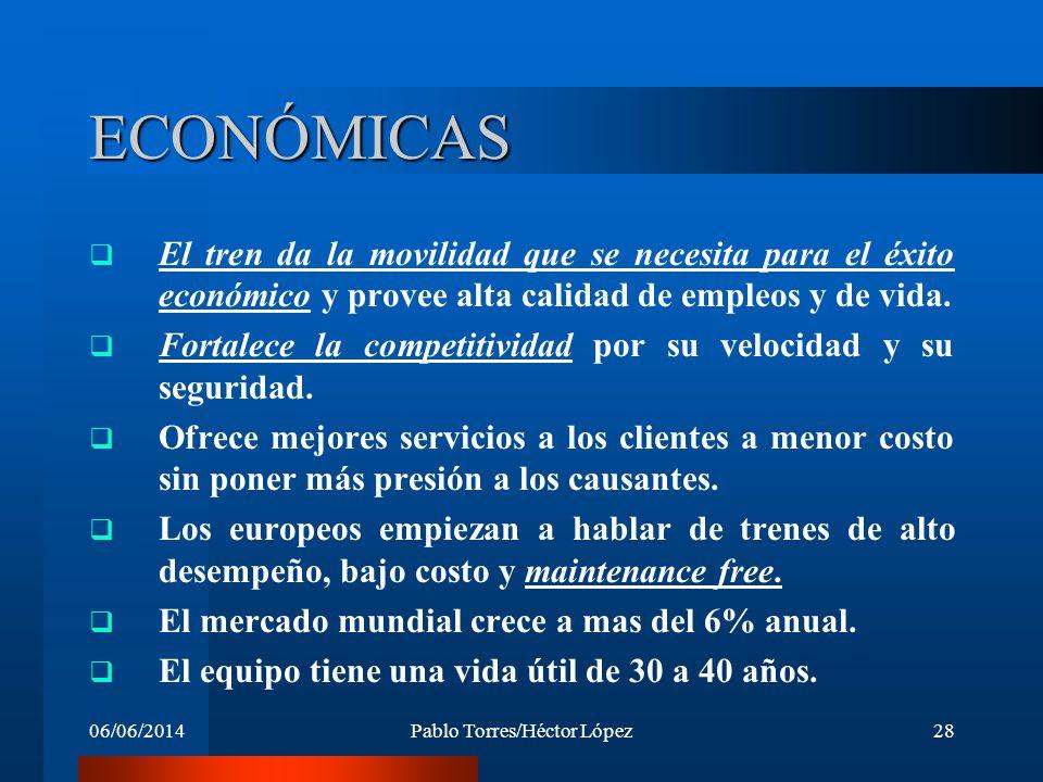 06/06/2014Pablo Torres/Héctor López28 ECONÓMICAS El tren da la movilidad que se necesita para el éxito económico y provee alta calidad de empleos y de