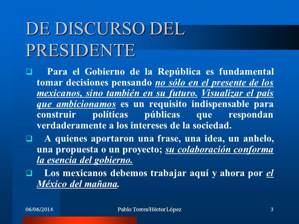 06/06/2014Pablo Torres/Héctor López3 DE DISCURSO DEL PRESIDENTE Para el Gobierno de la República es fundamental tomar decisiones pensando no sólo en e