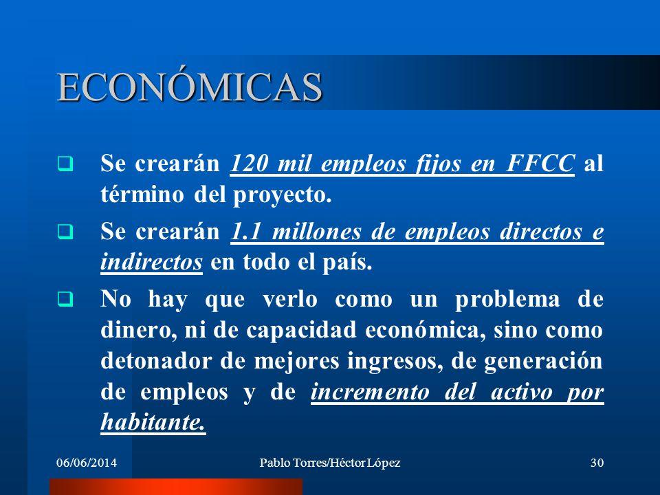 06/06/2014Pablo Torres/Héctor López30 ECONÓMICAS Se crearán 120 mil empleos fijos en FFCC al término del proyecto. Se crearán 1.1 millones de empleos