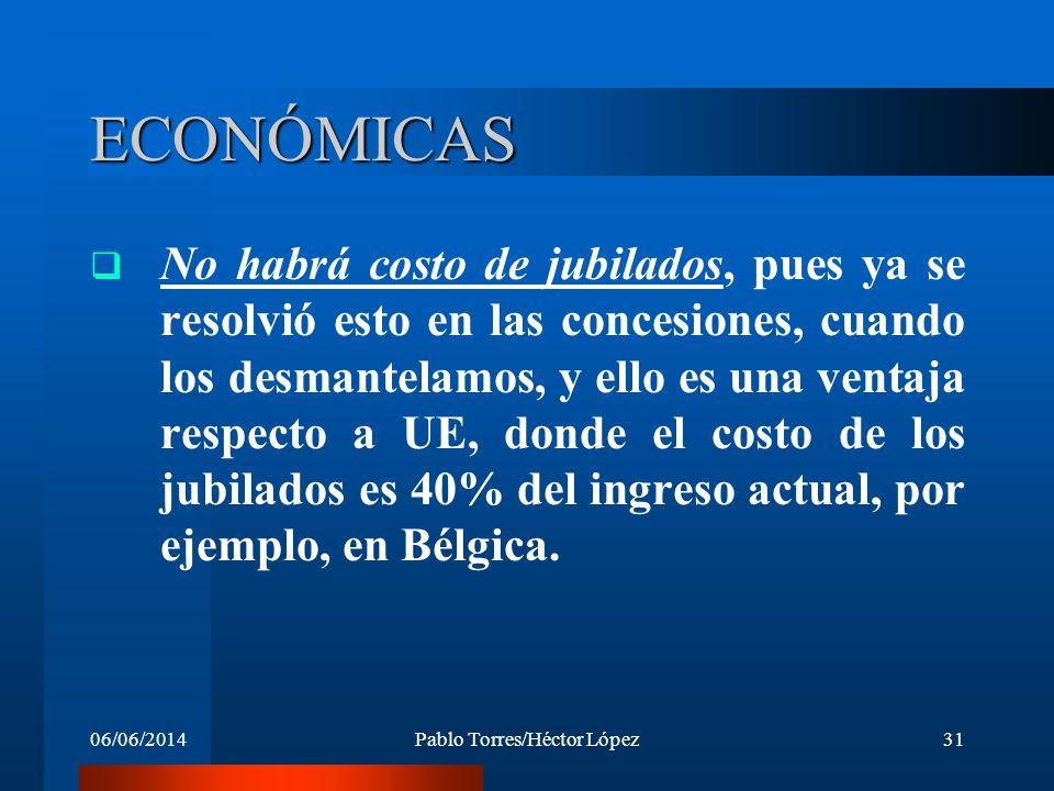 06/06/2014Pablo Torres/Héctor López31 ECONÓMICAS No habrá costo de jubilados, pues ya se resolvió esto en las concesiones, cuando los desmantelamos, y