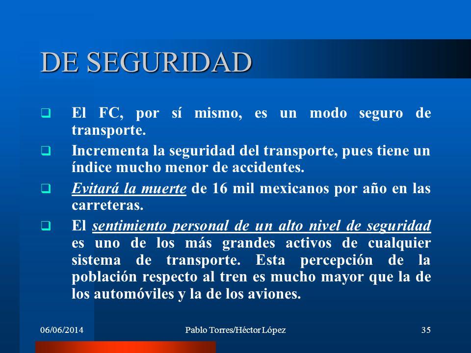 06/06/2014Pablo Torres/Héctor López35 DE SEGURIDAD El FC, por sí mismo, es un modo seguro de transporte. Incrementa la seguridad del transporte, pues