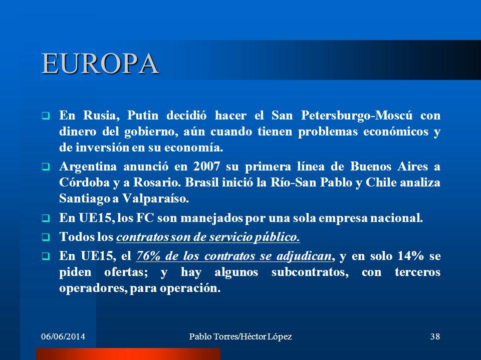 06/06/2014Pablo Torres/Héctor López38 EUROPA En Rusia, Putin decidió hacer el San Petersburgo-Moscú con dinero del gobierno, aún cuando tienen problem