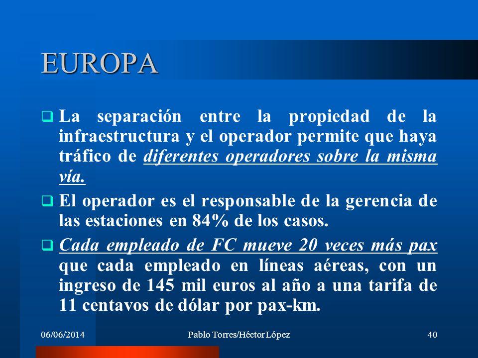 06/06/2014Pablo Torres/Héctor López40 EUROPA La separación entre la propiedad de la infraestructura y el operador permite que haya tráfico de diferent
