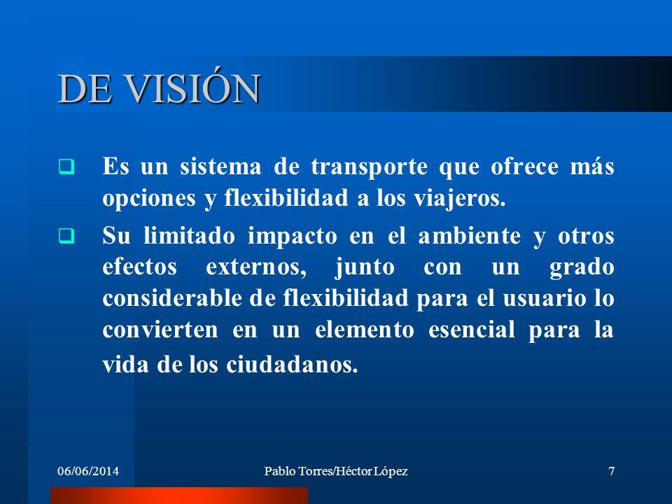 06/06/2014Pablo Torres/Héctor López7 DE VISIÓN Es un sistema de transporte que ofrece más opciones y flexibilidad a los viajeros. Su limitado impacto