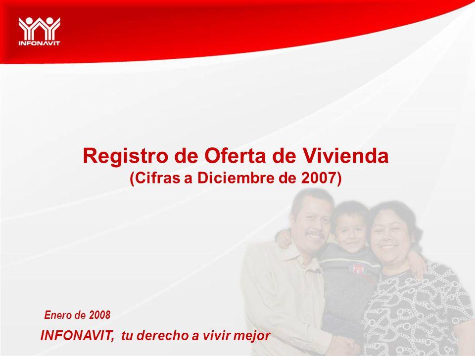 INFONAVIT, tu derecho a vivir mejor Enero de 2008 Registro de Oferta de Vivienda (Cifras a Diciembre de 2007)