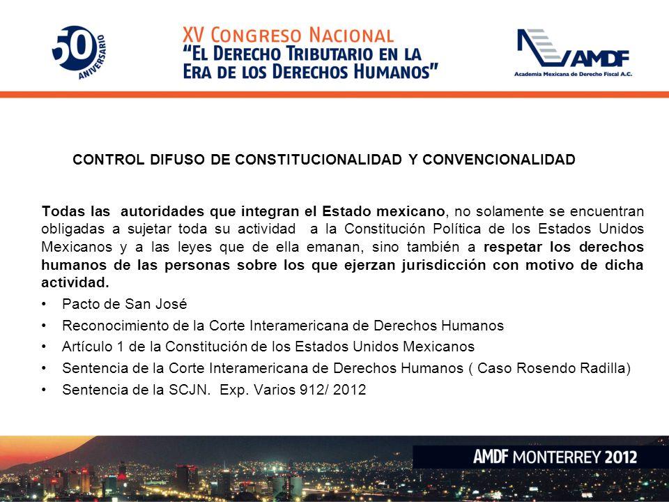CONTROL DIFUSO DE CONSTITUCIONALIDAD Y CONVENCIONALIDAD Todas las autoridades que integran el Estado mexicano, no solamente se encuentran obligadas a