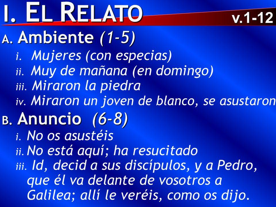 I. E L R ELATO A. Ambiente (1-5) i. Mujeres (con especias) ii.