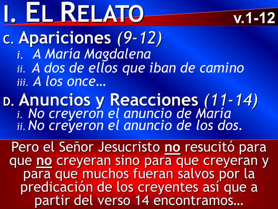 I. E L R ELATO C. Apariciones (9-12) i. A María Magdalena ii. A dos de ellos que iban de camino iii. A los once… D. Anuncios y Reacciones (11-14) i. N
