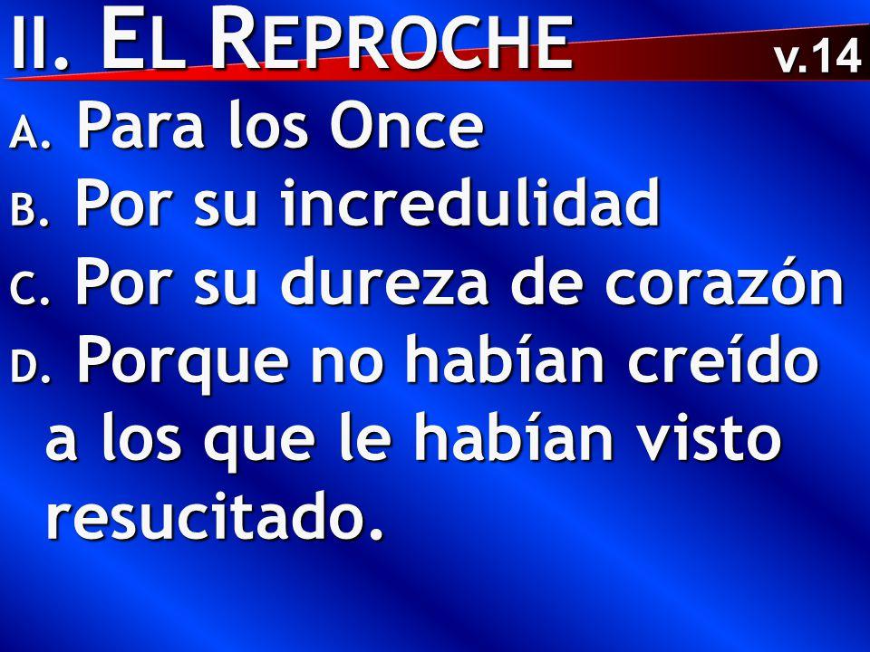 II. E L R EPROCHE A. Para los Once B. Por su incredulidad C.