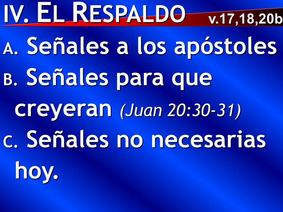 IV. E L R ESPALDO A. Señales a los apóstoles B. Señales para que creyeran (Juan 20:30-31) C. Señales no necesarias hoy. v.17,18,20b