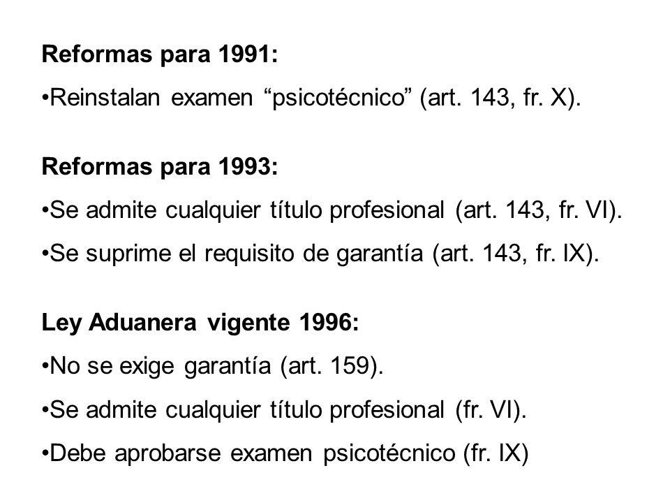 Reformas para 1991: Reinstalan examen psicotécnico (art. 143, fr. X). Reformas para 1993: Se admite cualquier título profesional (art. 143, fr. VI). S