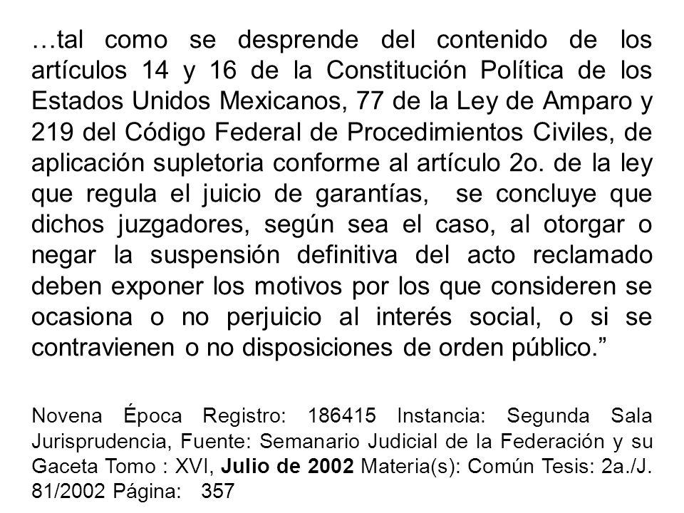 …tal como se desprende del contenido de los artículos 14 y 16 de la Constitución Política de los Estados Unidos Mexicanos, 77 de la Ley de Amparo y 21