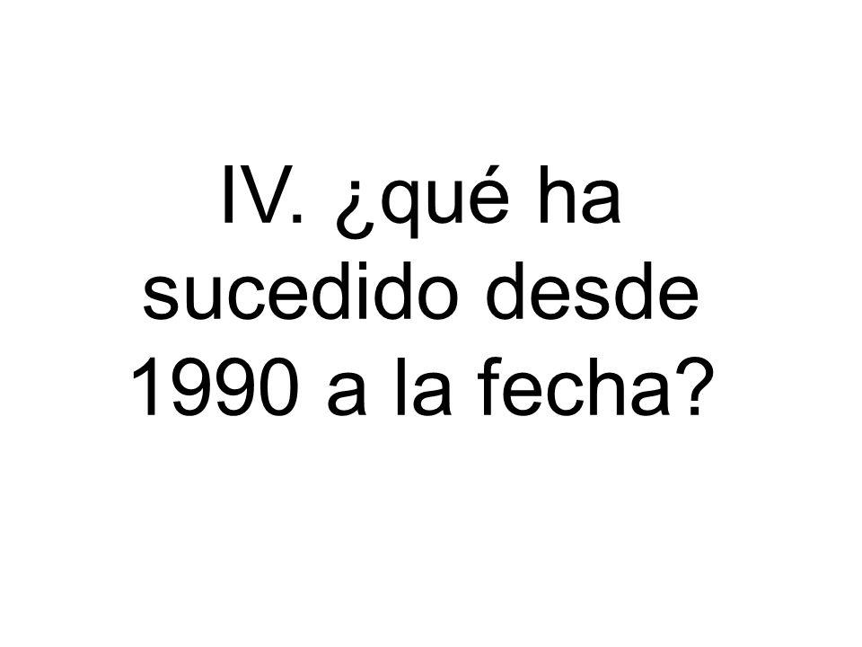 IV. ¿qué ha sucedido desde 1990 a la fecha?