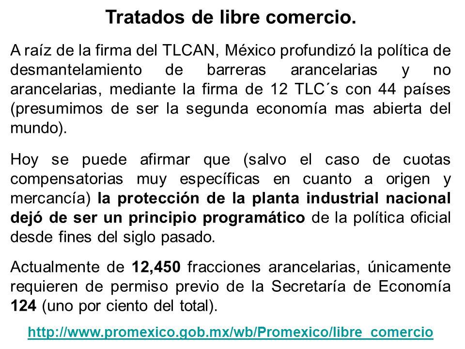 Tratados de libre comercio. A raíz de la firma del TLCAN, México profundizó la política de desmantelamiento de barreras arancelarias y no arancelarias