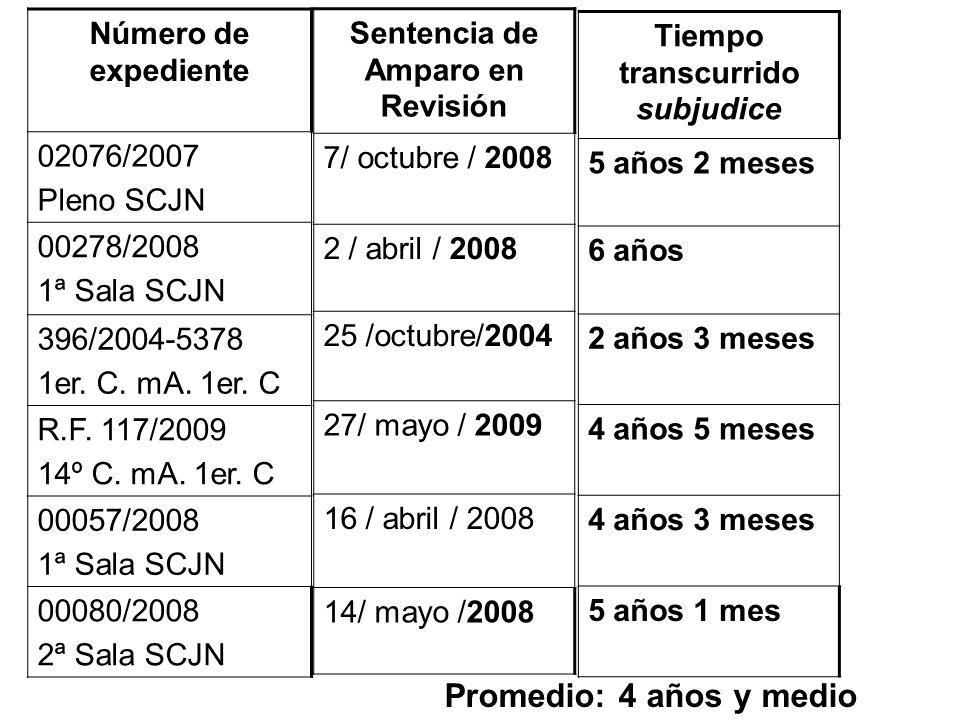 Sentencia de Amparo en Revisión 7/ octubre / 2008 2 / abril / 2008 25 /octubre/2004 27/ mayo / 2009 16 / abril / 2008 14/ mayo /2008 Número de expedie