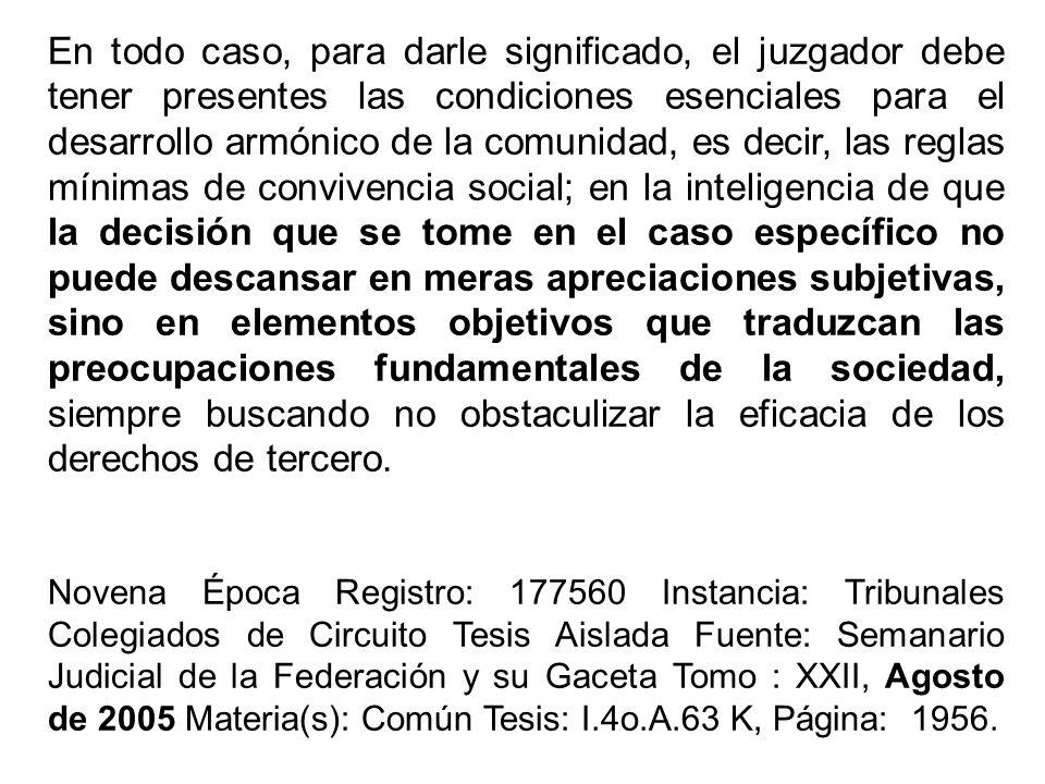 En todo caso, para darle significado, el juzgador debe tener presentes las condiciones esenciales para el desarrollo armónico de la comunidad, es deci
