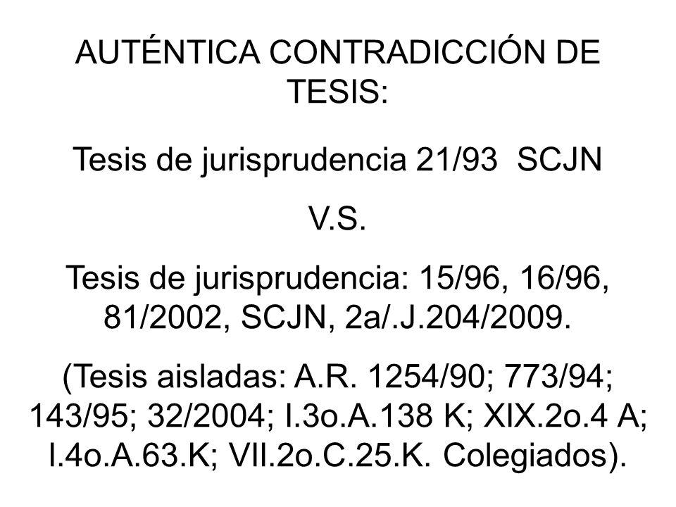 AUTÉNTICA CONTRADICCIÓN DE TESIS: Tesis de jurisprudencia 21/93 SCJN V.S. Tesis de jurisprudencia: 15/96, 16/96, 81/2002, SCJN, 2a/.J.204/2009. (Tesis