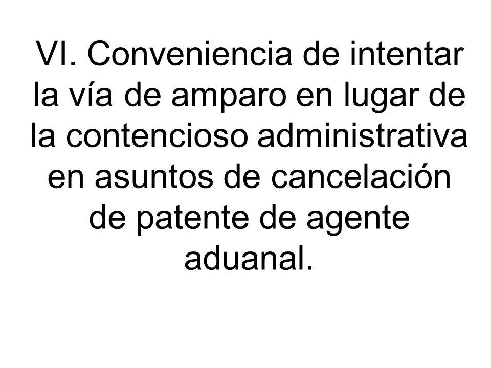 VI. Conveniencia de intentar la vía de amparo en lugar de la contencioso administrativa en asuntos de cancelación de patente de agente aduanal.