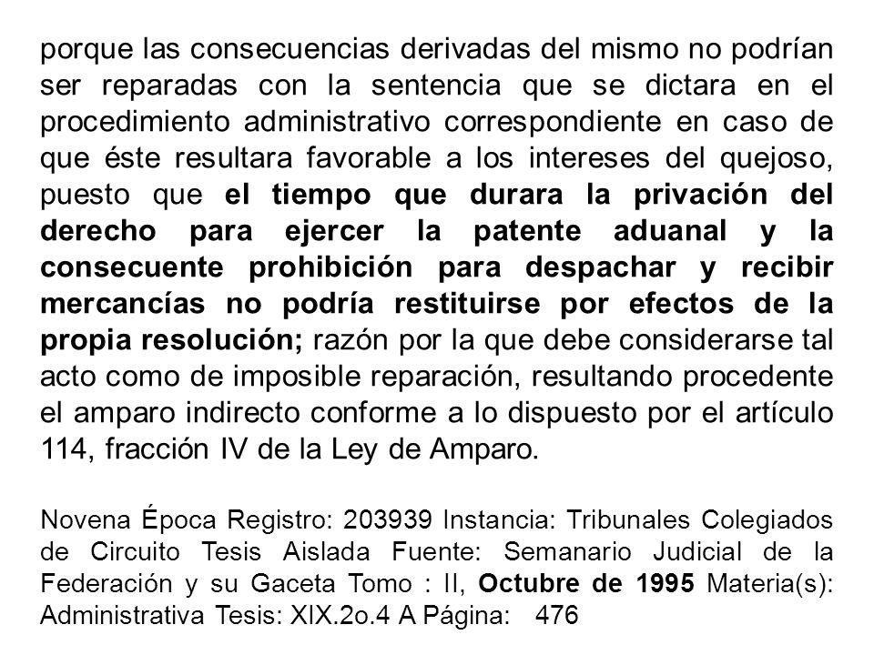 porque las consecuencias derivadas del mismo no podrían ser reparadas con la sentencia que se dictara en el procedimiento administrativo correspondien