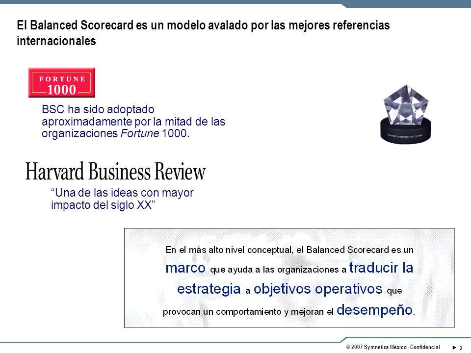 2 © 2007 Symnetics México - Confidencial BSC ha sido adoptado aproximadamente por la mitad de las organizaciones Fortune 1000.
